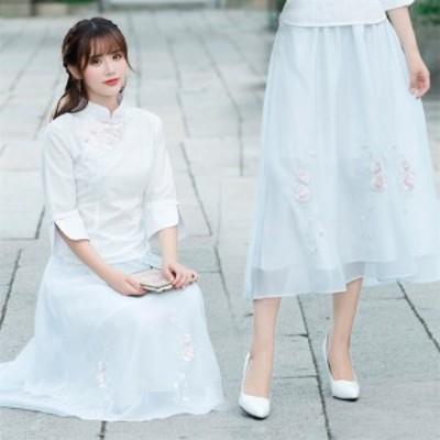 二枚送料無料/Aラインスカート マキシスカート 花柄刺繍スカート ハーフスカート チャイナドレス ボトムス フレアスカート ウェストゴム