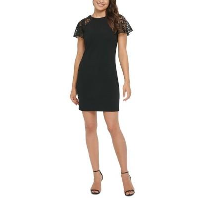 ケンジー ワンピース トップス レディース Lace-Sleeve Sheath Dress Black