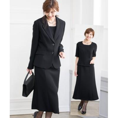 【喪服。礼服】ストレッチアンサンブル(テーラードジャケット+5分袖マーメイドワンピース)(オールシーズン対応) (ブラックフォーマル)Funeral Outfit