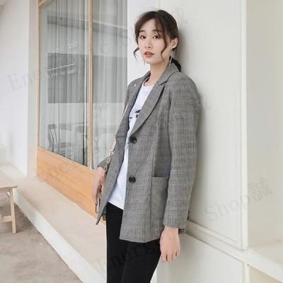 テーラードジャケット スーツジャケット レディース 春秋 ビジネススーツ 着痩せ 韓国風 ミディアム丈ジャケット 通勤アウター オフィス ライトアウター