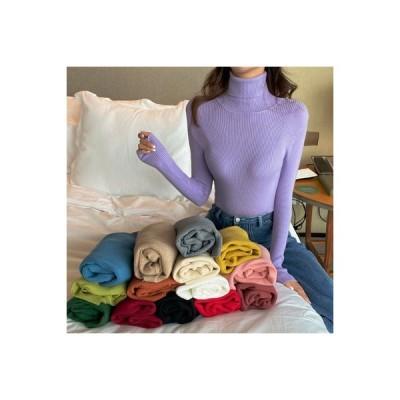 【送料無料】ニット レディース 秋冬 ファッション 白いハイネックセーター ボトムシャツ | 364331_A63704-0513847