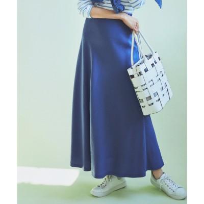 23区 【中村アンさん着用】テンセルサテンギャバ フレア スカート(番号2D26) (ブルー系)