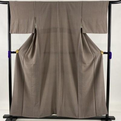 小紋 美品 優品 幾何学 灰紫 袷 157cm 64cm M 正絹 中古