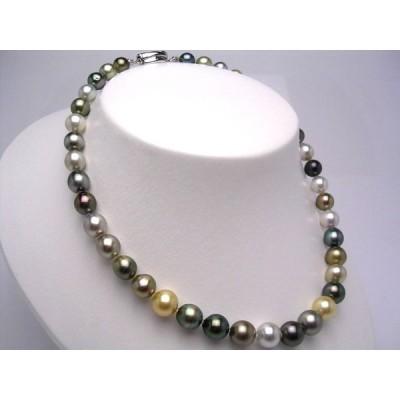 真珠 ネックレス パール 厚巻良質・ナチュラルカラー 黒蝶真珠 真珠ネックレス パールネックレス 8.4-10.8mm 20491