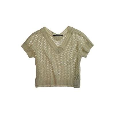 W118 Womens Glittery V-Neck Mesh Knit Sweater, Beige, Large並行輸入品 送料無料