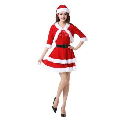 クリスマス 衣装 レディース セクシー サンタ コスプレ サンタクロース衣装 パーティードレス 仮装 コスチューム マント ポンチョ 可愛い
