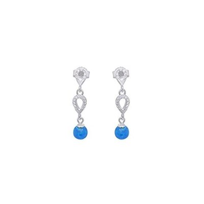 Round Simulated Blue Opal & Sparkling White Cubic Zirconia Teardrop Dangle