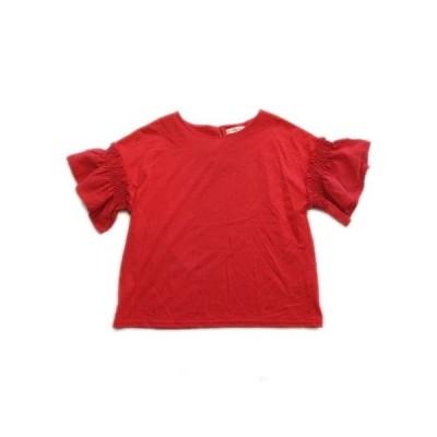 【中古】グローブ grove Tシャツ カットソー 袖シャーリング ドロップショルダー M 赤 レディース▼10  【ベクトル 古着】