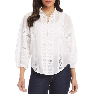 カレンケーン レディース シャツ トップス Lace Inset Mandarin Collar 3/4 Sleeve Blouse Off White