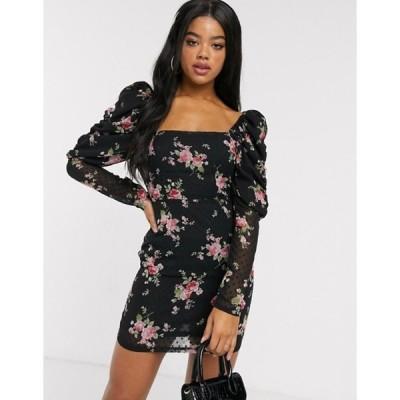 インザスタイル レディース ワンピース トップス In The Style x Fashion Influx puff sleeve mini dress in floral print
