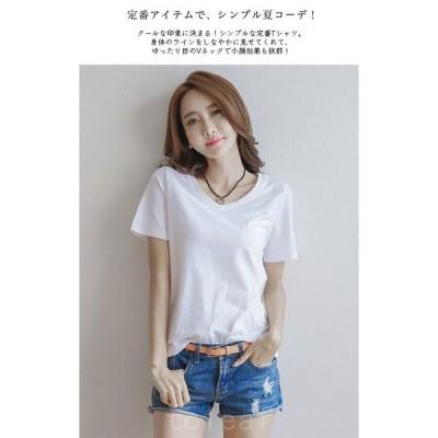 5colorシンプルVネック半袖Tシャツカジュアルプチプラ定番トップスレディース