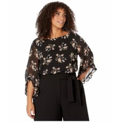 カルバンクライン レディース シャツ トップス Plus Size Printed Ruffle Sleeve Blouse Black/Multi