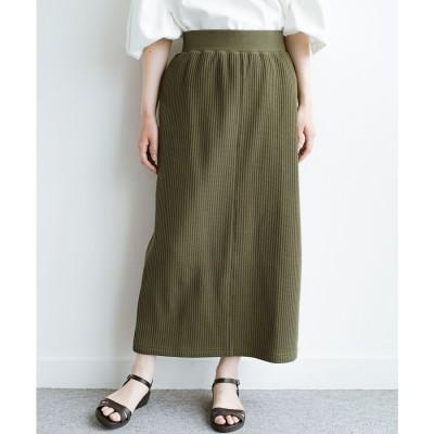 haco! 気軽にはいてもオンナっぽさを忘れない変わりワッフルタイトスカート by MAKORI(カーキ)