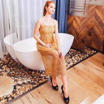 金色 ノースリーブ パーティードレス ロング丈 レース 透かし彫り 20代 30代 40代 着痩せ 演奏会 結婚式 二次会 お呼ばれ 成人式 キレイめ