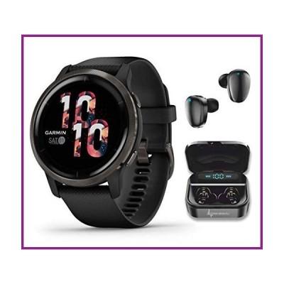 Garmin Venu 2 GPS Sport Fitness Smartwatch, Slate Bezel with Black Case and Silicone Band, AMOLED Display, Music with Wearable4U Black Earbu