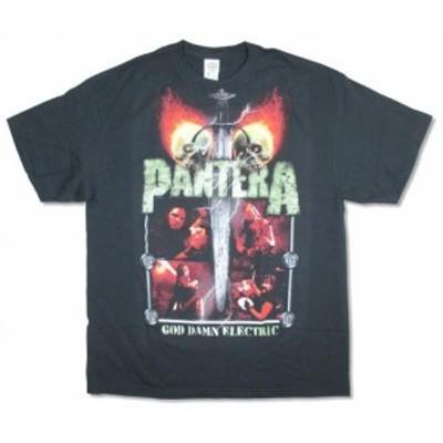 ファッション トップス Pantera-Lightning Skulls-Black T-shirt