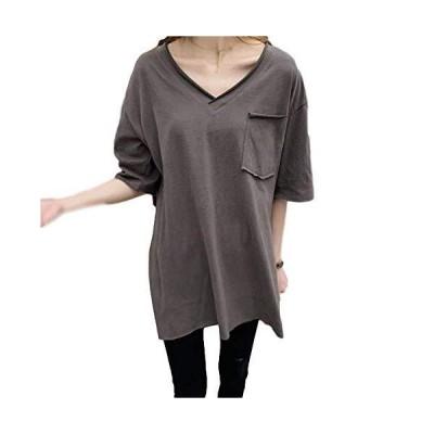 [AHKAH WORKS(アーカーワークス)] Tシャツ レディース Vネック カットソー 半袖 無地 薄手 シャツ 大きいサイズ (グレー, L)