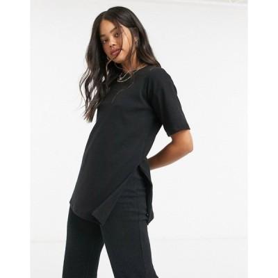 コットン オン レディース Tシャツ トップス Cotton:On oversized ribbed tee in black Black