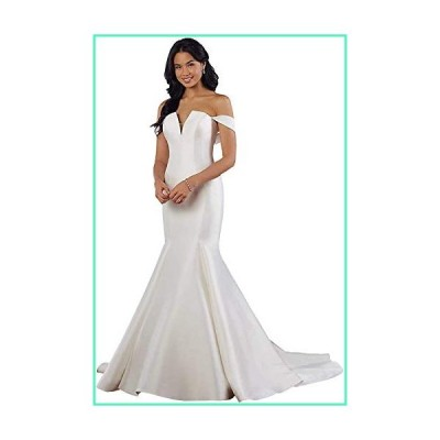 Meganbridal Sexy Off Shoulder Women's Long Train Mermaid Wedding Dress with Satin Bridal Gown for Bride並行輸入品