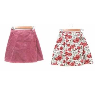 【中古】シュープリームララ ラップスカート 台形 ミニ リバーシブル コーデュロイ 花柄 M ピンク 白 ホワイト