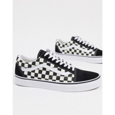 バンズ メンズ スニーカー シューズ Vans Old Skool Primary Check sneakers in black Primary check blackw