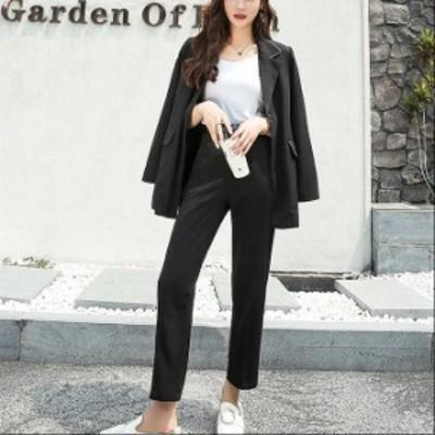 レディース 2点セット ジャケット + アンクルパンツ セットアップ 長袖 きれいめ 上品 ブラック ブラウン S M L XL サイズ 送料無料