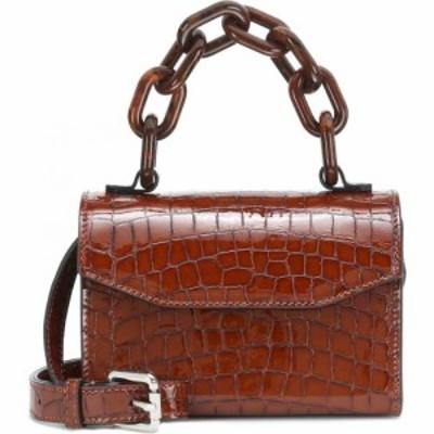 ガニー Ganni レディース ショルダーバッグ バッグ croc-effect patent leather shoulder bag Toffee