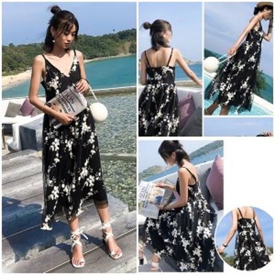 花柄マキシ丈ワンピース リゾートファッション ビーチ 海 プール ストラップドレス レディース chsg2552