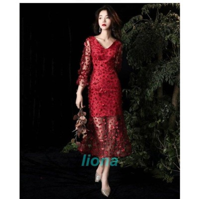 マーメイドドレス ミモレドレス パーティードレス 20代30代40代 ウエディングドレス おしゃれ カラードレス 結婚式 二次会 舞台衣装 披露宴 演奏会