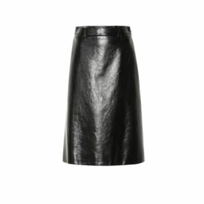 プラダ Prada レディース ひざ丈スカート スカート Leather midi skirt Nero