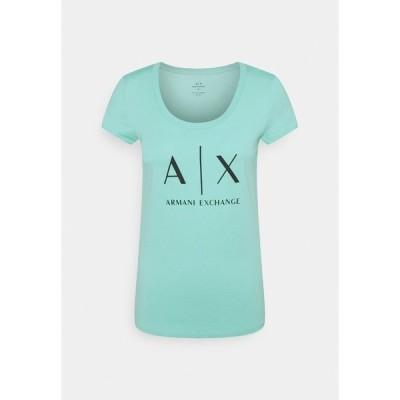 アルマーニエクスチェンジ Tシャツ レディース トップス Print T-shirt - light aqua