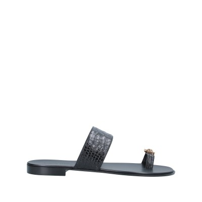 ジュゼッペ・ザノッティ・デザイン GIUSEPPE ZANOTTI トングサンダル ブラック 41 革 トングサンダル
