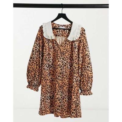 エイソス レディース ワンピース トップス ASOS DESIGN mini dress with contrast white oversized collar in leopard print Leopard print