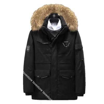 男女兼用 ダウンジャケット セミロング 厚手 ダウン 中綿ジャケット 冬 あったか 防風防寒 韓国 かっこいい 腕章 メンズコート 冬服