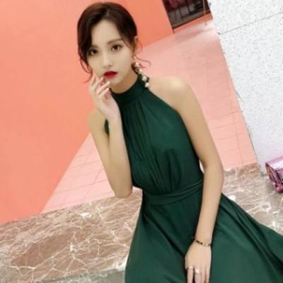 韓国 ファッション レディース パーティドレス ロングドレス ホルターネック リボン シフォン マキシ きれいめ セクシー 二次会 お呼ばれ