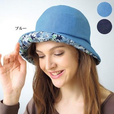 帽子 レディース / デニムプリント使い帽子 / 40代 50代 60代 70代 ミセスファッション シニアファッション