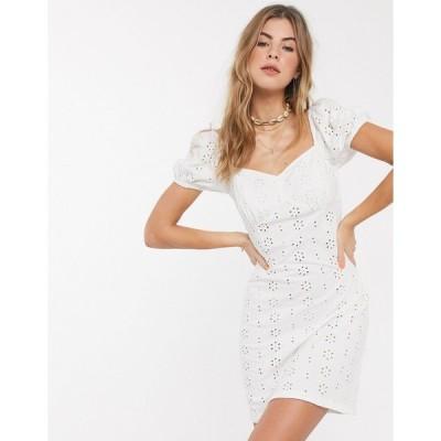 エイソス ミニドレス レディース ASOS DESIGN broderie mini dress with cup seams and puff sleeves in white エイソス ASOS ホワイト 白