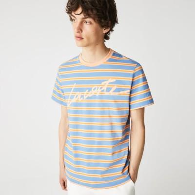 ラコステ LACOSTE シグネチャープリントボーダーTシャツ (ブルー)