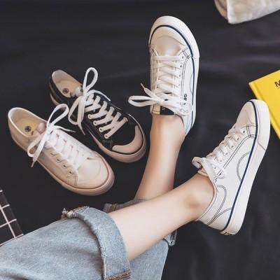ズック靴 レディースシューズ 春夏 スニーカー 白 フラットシューズ ズック レディーススニーカー 40代 フラット靴 厚底靴 歩きやすい 美脚  通勤 可愛い