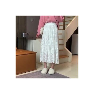 【送料無料】~ 秋冬 ハイウエスト 着やせ ロング レースの半身裙スカート 気質 何でも似合う ウル | 364331_A64187-3534746