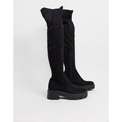 レイド レディース ブーツ&レインブーツ シューズ RAID Pierra chunky over the knee boots in black Black mf