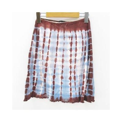 【中古】19501 I PINCO PALLINO 膝上 ミニ 台形 スカート 10 茶系 ブラウン 水色 ライトブルー イタリア製 綿 コットン 総柄 レディース 【ベクトル 古着】