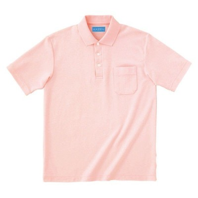 KAZEN ポロシャツ半袖 介護ユニフォーム 男女兼用 ピンク 4L 232-23(直送品)
