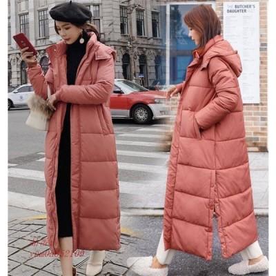 中綿コート レディース ロングコート フード 冬 厚手 アウター 防寒