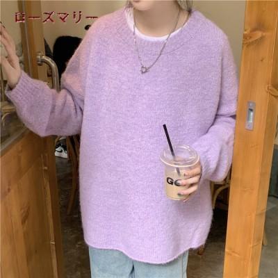 ローズマリー  韓国ファッション🌸2020 11月 新品販売 シンプルでゆったり クルーネック  カバーの長袖セーター  ニットセーター   メリヤス   可愛い  2011057