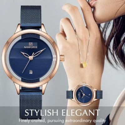 Naviforce女性用腕時計,クォーツ,ステンレススチール,シンプル,耐水性,日付付き,女性用