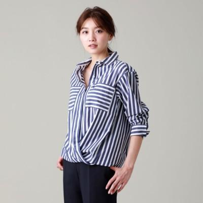 【L】【ウォッシャブル】ディグ二ファイドストライプシャツ