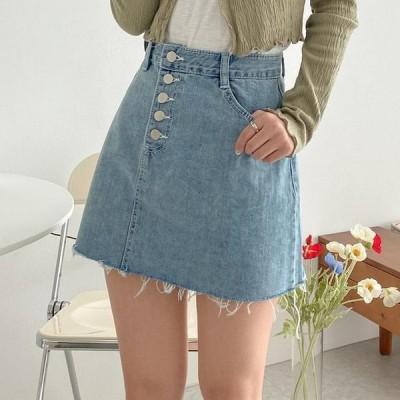 VANILLAMILK レディース スカート Paley button mini denim skirt