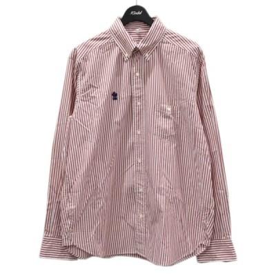 【3月25日値下】Mountain Research ストライプ ボタンダウンシャツ MTR-2840 レッド×ホワイト サイズ:M (四ツ橋北堀江店