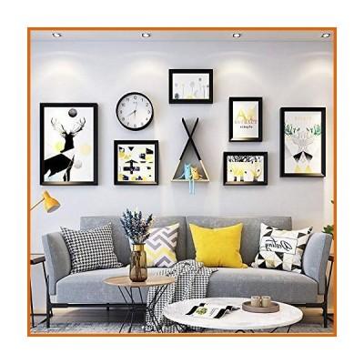 ウォールデコレーション QLT 8pcs Photo Decoration Wall-Mounted, 12 In/24 in Modern DIY Solid Wood Bedroom Living Room Photo Frame